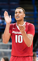NWA Democrat-Gazette/CHARLIE KAIJO Arkansas Razorbacks forward Daniel Gafford (10) reacts during the Southeastern Conference Men's Basketball Tournament quarterfinals, Friday, March 9, 2018 at Scottrade Center in St. Louis, Mo.