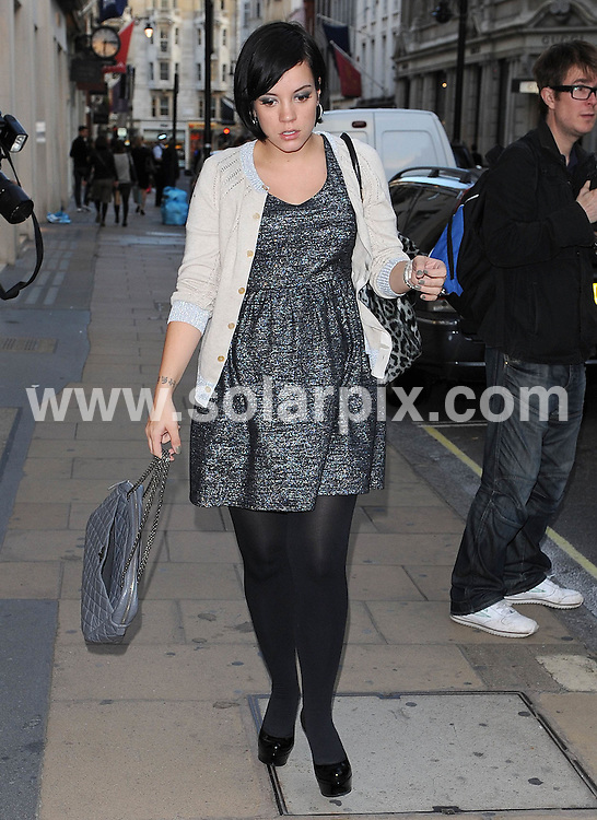 **ALL ROUND PICTURES FROM SOLARPIX.COM**                                             **WORLDWIDE SYNDICATION RIGHTS**                                                                                  Caption: Celebrities out in New Bond Street, London, UK, 21 September 2010                                                                               This pic: Lily Allen                                                                                           JOB REF: 12167        SSD       DATE: 21_09_2010                                                            **MUST CREDIT SOLARPIX.COM OR DOUBLE FEE WILL BE CHARGED**                                                                      **MUST AGREE FEE BEFORE ONLINE USAGE**                               **CALL US ON: +34 952 811 768 or LOW RATE FROM UK 0844 617 7637**