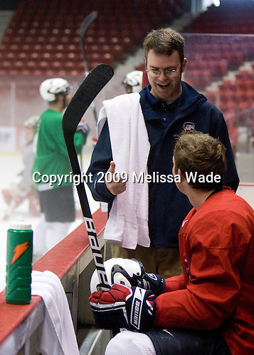 Jason Hodges (US - Trainer), Danny Kristo (US - 17) - Team USA practiced on Friday, August 14, 2009, in the 1980/Herb Brooks (international-sized) Rink prior to their third game versus Team Russia during the 2009 USA Hockey National Junior Evaluation Camp in Lake Placid, New York.