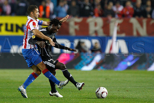 Madrid, SPAIN. 21.10.2010.The match played between. At.Madrid and Rosenborg BK, Europa League. The player Annan in action during the game match played at the Vicente Calderon...