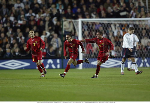 VANCO TRAJANOV celebrates his goal, England 2 v MACEDONIA 2, Euro 2004 Qualifier, St Mary's Stadium, Southampton 021016 Photo:Glyn Kirk/Action Plus...2002.football soccer.celebrate celebration celebrations joy..