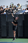 Alan Gadjiev of the Wake Forest Demon Deacons serves the ball during doubles play against the Florida Gators at the Wake Forest Tennis Center on March 30, 2018 in Winston-Salem, North Carolina.  The Gators defeated the Demon Deacons 4-3.  (Brian Westerholt/Sports On Film)