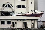 "Minamisanriku, Miyagi, Japan - A fisherman?s boat on the ruins of  public Shizugawa hospital in Minamisanriku, one year after the tsunami. The Latin group of volunteers ""Todos con Japon"" visits Miyagi area during this Golden Week."
