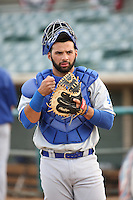 Julian Leon (43) of the Rancho Cucamonga Quakes prepares to catch in the bullpen before a game against the Lancaster JetHawks at The Hanger on April 19, 2016 in Lancaster, California. Rancho Cucamonga defeated Lancaster, 10-6. (Larry Goren/Four Seam Images)