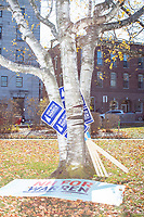 Campaign signs for Democratic presidential candidate and Massachusetts senator Elizabeth Warren are seen leaning on a tree before she files paperwork to get on the primary ballot at the NH State House in Concord, New Hampshire, on Wed., November 13, 2019. Warren also held a small rally outside the State House after filing her paperwork.