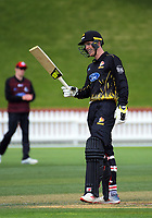 Andrew Fletcher celebrates his 50. Ford trophy one day cricket match between Wellington Firebirds and Canterbury at the Basin Reserve in Wellington, New Zealand on Wednesday, 24 October 2018. Photo: Dave Lintott / lintottphoto.co.nz