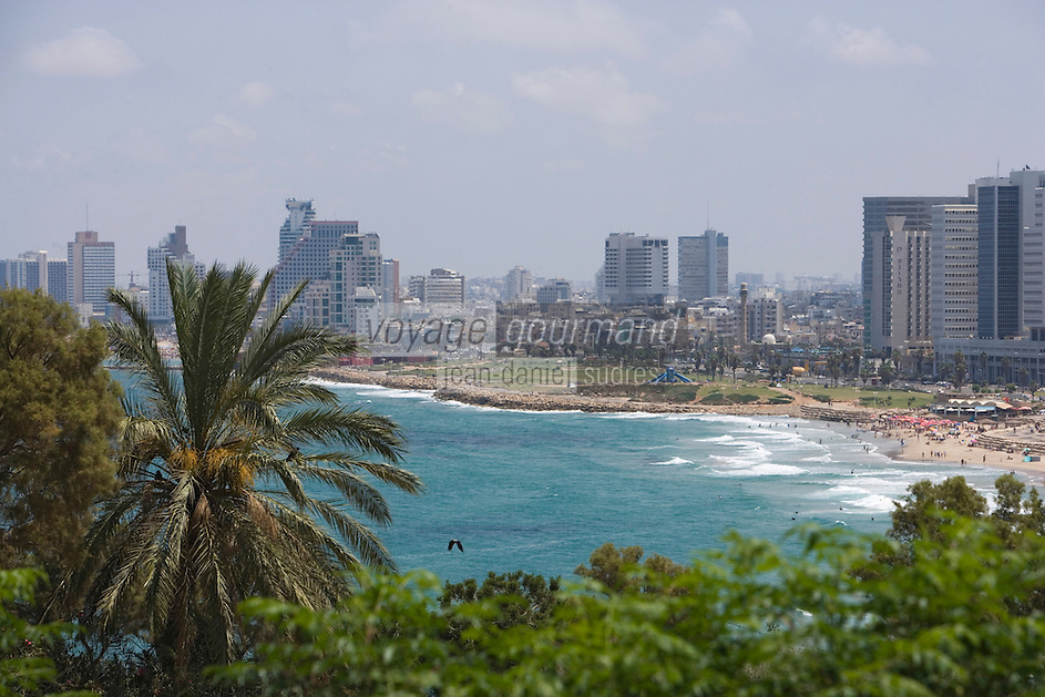 Asie/Israel/Tel-Aviv-Jaffa/Vieux Jaffa: le front de mer de Tel-Aviv vu depuis le jardin Gan Ha-Pisga situé sur la colline de Jaffa