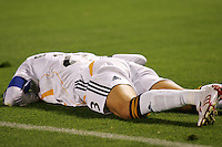 Los Angeles Galaxy midfielder (23) David Beckham lies on the turf in pain after being injured in the first half of the SuperLiga finals between the Los Angeles Galaxy of MLS and CF Pachuca of FMF at the Home Depot Center, Carson, CA, on August 29, 2007. Pachuca wins 4-3 on penalty kicks after the game finished in a 1-1 tie.