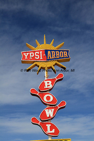 Ypsilanti-Ann Arbor Bowling Alley sign, formerly on Washtenaw Avenue.