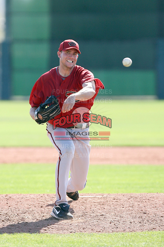 Taylor Sinclair #20 of the Arizona Diamondbacks plays in a minor league spring training game against the San Francisco Giants at the Giants minor league complex on March 16, 2011  in Scottsdale, Arizona. .Photo by:  Bill Mitchell/Four Seam Images.