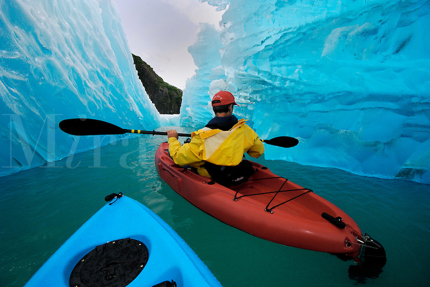 Sea kayaking near iceberg in Tracy Arm, Alaska, Pacific Ocean