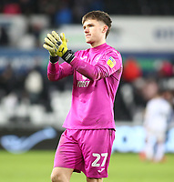 11th February 2020; Liberty Stadium, Swansea, Glamorgan, Wales; English Football League Championship, Swansea City versus Queens Park Rangers; Freddie Woodman of Swansea City applauds the fans after the goalless draw