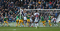 West Bromwich Albion's Dwight Gayle scores his third and his teams fourth goal past Preston North End's goalkeeper Declan Rudd<br /> <br /> Photographer Stephen White/CameraSport<br /> <br /> The EFL Sky Bet Championship - West Bromwich Albion v Preston North End - Saturday 13th April 2019 - The Hawthorns - West Bromwich<br /> <br /> World Copyright © 2019 CameraSport. All rights reserved. 43 Linden Ave. Countesthorpe. Leicester. England. LE8 5PG - Tel: +44 (0) 116 277 4147 - admin@camerasport.com - www.camerasport.com