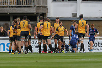 Ealing Trailfinders celebrate after scoring a try during the Greene King IPA Championship match between London Scottish Football Club and Ealing Trailfinders at Richmond Athletic Ground, Richmond, United Kingdom on 8 September 2018. Photo by David Horn.