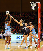 16.07.2015 Silver Ferns Casey Kopua AND Fiji's Maria Lutua in action during the Silver Fern v Fiji netball test match played at Te Rauparaha Arena in Porirua. Mandatory Photo Credit ©Michael Bradley.