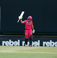 3rd November 2019; Western Australia Cricket Association Ground, Perth, Western Australia, Australia; Womens Big Bash League Cricket, Sydney Sixers verus Melbourne Stars; Alyssa Healy of the Sydney Sixers reaches her fifty - Editorial Use
