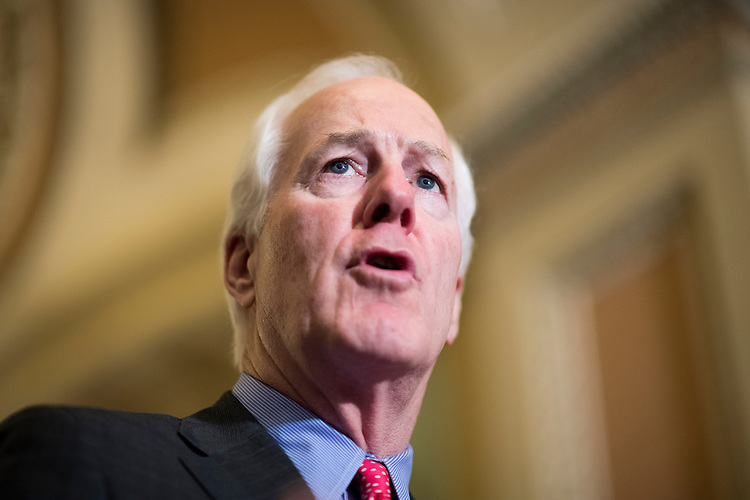 UNITED STATES - JUNE 7: Sen. John Cornyn (R-TX) speaks to the media following the Senate Republicans' policy lunch in the Capitol on Tuesday, June 7, 2016. (Photo By Bill Clark/CQ Roll Call)