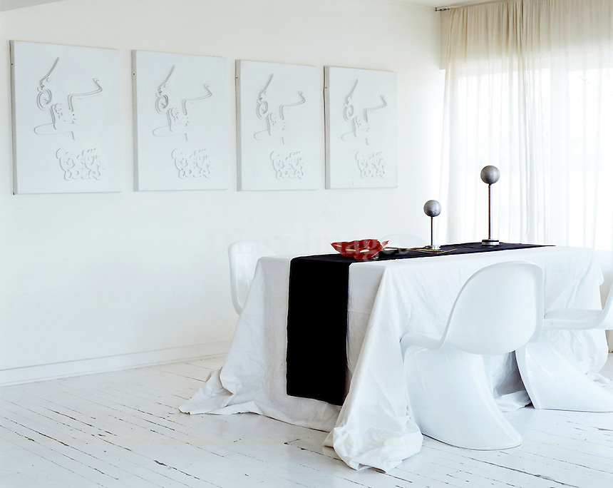 minimal white dining room