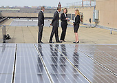 United States President Barack Obama looks at solar panels installed on the roof of the U.S. Department of Energy in Washington, D.C. on Thursday, March 19, 2015.  From left to right: Eric Haukdal, Department of Energy HQ Energy Manager, The President, Liz Sherwood-Randall, Deputy Secretary of Energy, and Kate Brandt, Federal Chief Sustainability Officer.<br /> Credit: Ron Sachs / Pool via CNP
