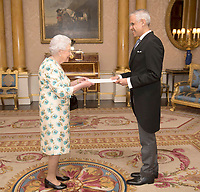 14 June 2017 - Queen Elizabeth II is presented with the Letters of Recall of his predecessor and his own Letters of Credence by His Excellency Julian Ventura Valero, the Ambassador from the United Mexican States, during a private audience in Buckingham Palace, central London. Photo Credit: ALPR/AdMedia