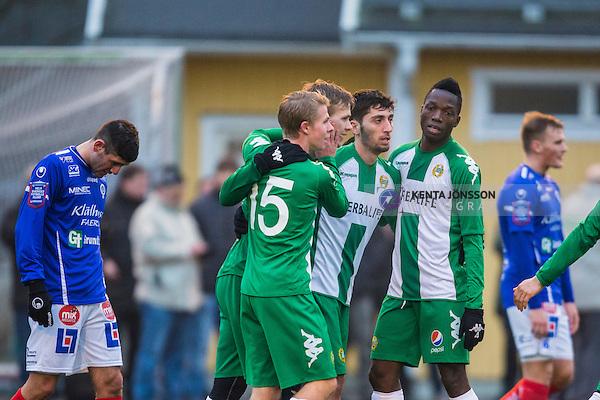 Stockholm 2014-02-14 Fotboll Tr&auml;ningsmatch Hammarby IF - &Aring;tvidabergs FF :  <br /> Hammarbys Erik Israelsson gratuleras av Hammarbys Viktor Nordin  , Hammarbys Nahir Besara  och Hammarbys Amadayia Rennie  efter sitt 3-0 m&aring;l<br /> (Foto: Kenta J&ouml;nsson) Nyckelord:  HIF Bajen &Aring;tvidaberg &Aring;FF jubel gl&auml;dje lycka glad happy