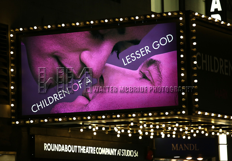Theatre Marquee for the Broadway opening night performance of 'Children of a Lesser God' at Studio 54 Theatre on April 11, 2018 in New York City.