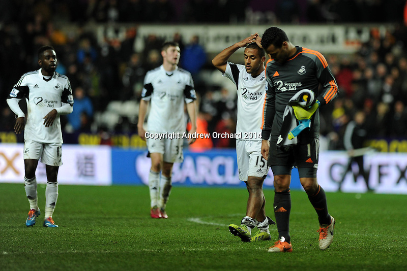 Swansea city's  Michel Vorm  and Wayne Routledge walk off dejected at end of match after drawing 1-1.  Barclays Premier league, Swansea city v Crystal Palace match at the Liberty Stadium in Swansea, South Wales on Sunday 2nd March 2014.