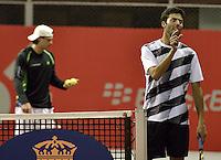 BOGOTÁ -COLOMBIA. 17-07-2013. Alejandro González (COL)/Carlos Salamanca (al frente)(COL)  durante el juego contra James Cerretani (USA)/Chris Guccione (AUS) en dobles en la segunda ronda del ATP Claro Open Colombia 2013 en el centro de Alto Rendimiento en la ciudad de Bogotá./ Alejandro Gonzalez (COL)/ Carlos Salamanca (in front) (COL)  during match against James Cerretani (USA)/ Chris Guccione (AUS) on the second round of the ATP Claro OAlto Rendimiento in Bogota city. Photo: VizzorImage / Str