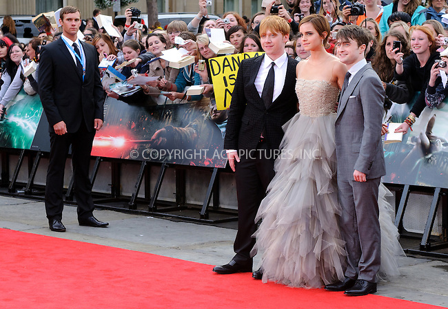 Rupert Grint, Emma Watson and Daniel Radcliffe at the World premiere of 'Harry Potter and the Deathly Hallows: Part 2' in London - 07 July 2011 FAMOUS PICTURES AND FEATURES AGENCY 13 HARWOOD ROAD LONDON SW6 4QP UNITED KINGDOM tel +44 (0) 20 7731 9333 fax +44 (0) 20 7731 9330 e-mail info@famous.uk.com www.famous.uk.com FAM41870