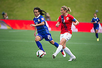 OTTAWA, Canada - Sunday June 7, 2015: Norway takes on Thailand in the opening match of Group B at the Women's World Cup Canada 2015 at Lansdowne Stadium.