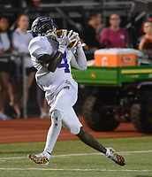 Upper Moreland's Sterlen Barr Jr. (4) makes a catch on his way to scoring a touchdown on the play against Hatboro-Horsham in the first quarter Saturday, September 23, 2017 in Horsham, Pennsylvania. (Photo by William Thomas Cain)
