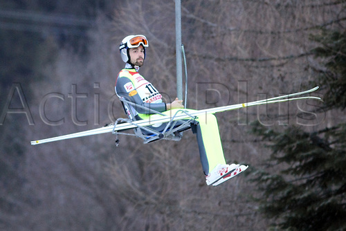 12th January 2018, Val di Fiemme, Fiemme Valley, Italy; FIS Nordic Combined World Cup, Mens Gundersen; Philipp Orter (AUT) on the chair to the top