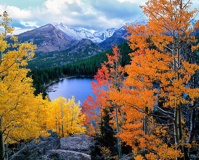 autumn evening above Bear Lake, September evening in Rocky Mountain National Park, Colorado, USA