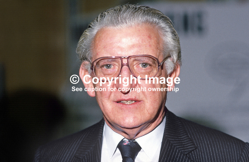 Wyn Roberts, MP, Conservative Party, junior minister, Welsh Office, UK, 19871007WR1.<br /> <br /> Copyright Image from Victor Patterson, 54 Dorchester Park, Belfast, UK, BT9 6RJ<br /> <br /> t: +44 28 90661296<br /> m: +44 7802 353836<br /> vm: +44 20 88167153<br /> e1: victorpatterson@me.com<br /> e2: victorpatterson@gmail.com<br /> <br /> For my Terms and Conditions of Use go to www.victorpatterson.com