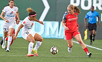 Portland, OR - Wednesday June 28, 2017: Lindsey Horan, Desiree Scott during a regular season National Women's Soccer League (NWSL) match between the Portland Thorns FC and FC Kansas City at Providence Park.