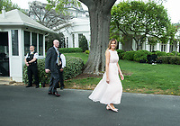 Washington DC, April 17, 2017, USA:  President Donald J Trump and First Lady Melania Trump welcome visitors to the South Lawn of the White House for the 139th Annual Easter Egg roll and event in Washington DC. <br /> CAP/MPI/LYN<br /> &copy;LYN/MPI/Capital Pictures