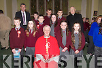 The 6th class pupils of Coolard NS who were Confirmed by Bishop Ray Browne at St. Theresa's Church, Ballydonoghue . Pictured Front: L to R Seán óg Scanlon, Rachel Sheehan, Jessica Foley, Edel Mulvihill Back:  L to R Maurice O' Mahony, Brendan O' Shea, Liam Halpin, Paddy Cunnane, Louise Madden, Patrick Kissane, Fr. Lawlor