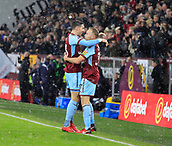 9th December 2017, Turf Moor, Burnley, England; EPL Premier League football, Burnley versus Watford; Stephen Ward of Burnley congratulates Scott Arfield on scoring the opening goal of the game in the 45th minute