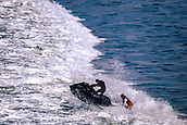 6th January 2018, Praia do Norte, Nazaré , Portugal;  Jetski taxi takes Lucas Chumbo, pro surfer from Brazil is jet-ski'd to the waves area