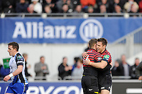 Chris Ashton of Saracens is congratulated by Chris Wyles of Saracens after scoring a try during the Heineken Cup Round 6 match between Saracens and Connacht Rugby at Allianz Park on Saturday 18th January 2014 (Photo by Rob Munro)