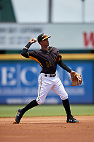 Bradenton Marauders shortstop Adrian Valerio (14) makes a throw during the first game of a doubleheader against the Jupiter Hammerheads on May 27, 2018 at LECOM Park in Bradenton, Florida.  Bradenton defeated Jupiter 13-5.  (Mike Janes/Four Seam Images)