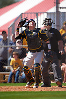 Iowa Hawkeyes catcher Jimmy Frankos (16) and umpire Dan Deim keep their eyes on a popup during a game against the Dartmouth Big Green on February 27, 2016 at South Charlotte Regional Park in Punta Gorda, Florida.  Iowa defeated Dartmouth 4-1.  (Mike Janes/Four Seam Images)