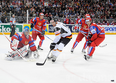 May 15 2010,LANXESS-Arena,Cologne,Germany. IIHF World Championship 2010.RUS vs GER.VARLAMOV Semyon Goaltender #40,DATSYUK,Pavel #13,FELSKI Sven #11 ,KORNEYEV Konstantin #22 .