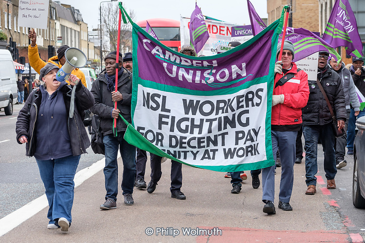 Liz Wheatley, Camden Unison Branch Secretary (with megaphone).  Striking Camden civil enforcement officers (traffic wardens) employed by private contractor NSL march through Camden Town to demand fair pay (£11.15 an hour) during five days of industrial action..