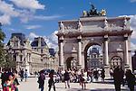 Paris, France,  Arc de Triomphe du Carrousel, the Louvre Museum, Right Bank, First Arrondissement, Triumphal Arch built to commemorate Napoleon's victories in 1806.