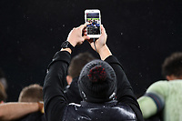 A general view of a smartphone recording the England team huddled together after the match. Old Mutual Wealth Series International match between England and Australia on November 18, 2017 at Twickenham Stadium in London, England. Photo by: Patrick Khachfe / Onside Images