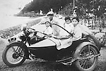 A Japanese family with its Harley-Davidson sidecar.