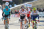 Riders cross the finish line at the end of Stage 4 of the Volta Ciclista a Catalunya 2019 running 150.3km from Llanars (Vall De Camprodon) to La Molina (Alp), Spain. 28th March 2019.<br /> Picture: Colin Flockton | Cyclefile<br /> <br /> <br /> All photos usage must carry mandatory copyright credit (© Cyclefile | Colin Flockton)
