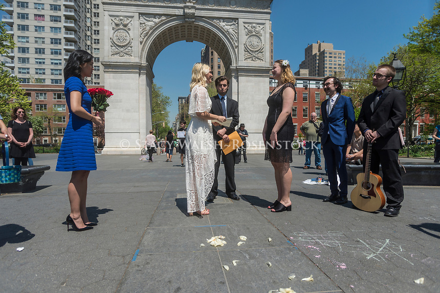 New York, USA 28 April 2017 - Same sex marriage on a warm Springtime day in Washington Square Park ©Stacy Walsh Rosenstock