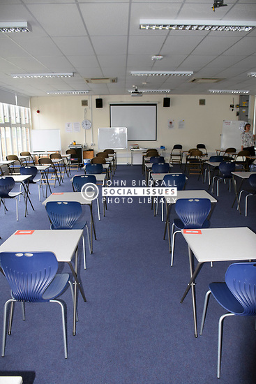 Exam room, secondary school UK 2018
